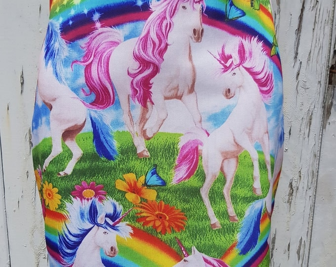Unicorn & Rainbow Mini Skirt - Size 8 10 12 14 16 - Pink Mystical Fantasy