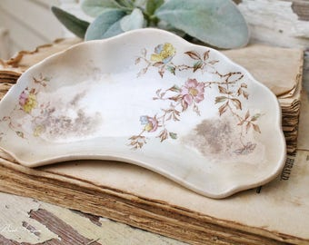 Antique Bone Dish White Ironstone WILKINSON Soap Dish Scalloped Floral Pink Brown Farmhouse Fixer Upper Decor