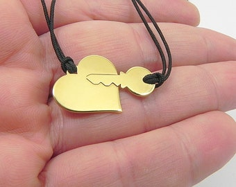 Gold plated sterling silver set of heart and key necklace, Couples necklace set,Boyfriend gift, His and her necklace - Ship by DHL EXPRESS