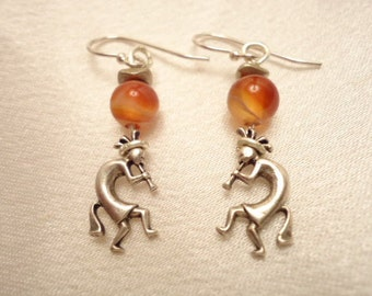 Vintage Kokopelli Drop Earrings Sterling Silver With Amber Ball