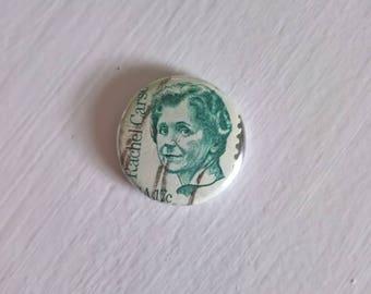 Rachel Carson Postage Stamp Vintage Pinback Button --- Retro World Traveler Destination Badge --- American Marine Biologist Accessory Pin