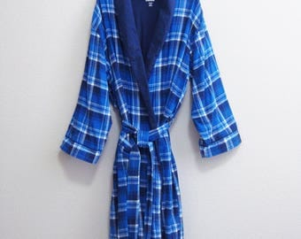 Blue Plaid Robe XL XXL Lined and Cozy