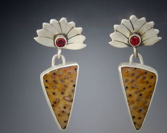 Garnet and Petrified Wood Earrings