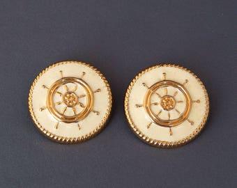 Vintage Ship's Wheel Earrings White Enamel Gold Tone, Nautical Jewelry Beach Boating