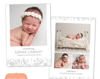 Birth Announcement Template - Floral Baby Announcement Template for Photographers - Newborn 5x7 card - CB114  - INSTANT DOWNLOAD