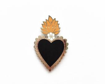 Mexican Sacred Heart Enamel Pin Lapel Pin Badge - Silver w/Black Heart, Orange Flames & White Flower Hard Enamel