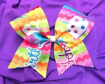 Happy Birthday Grosgrain Cheer Bow on elastic