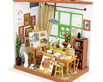 Painting studio with Light * DIY Handcraft Miniature Project * Dollhouse making kit *  Birthday Gift * 1:24 miniature dollhouse