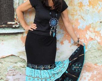 M Gypsy embroidered India boho fantasy long skirt hippie bohemian