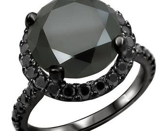 Black Round Diamond 5.0ct Total Weight Engagement Ring Wedding 14k Black Gold