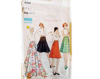 Vogue #8256 Vintage 60's Flared and Pleated Skirt Sewing Patterns Mid-knee or Evening length 4 Options Size UK 12 Waist 27""