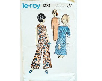 "Vintage 60's Le Roy 3133 Culotte Jumpsuit and Round Neck Dress Sewing Pattern Size Bust 32"" UK 12"
