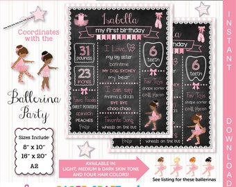 Ballerina Printable Chalkboard | African American | 1st 2nd 3rd Birthday | Personalized Poster | Instant Download & Edit in Adobe Reader