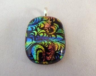 Colorful Dichroic Fused Glass Pendant, Multi Colored, Fused Glass, Fused Glass Pendant, Glass Pendant, Dichroic Pendant, Dichroic, Rainbow