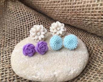 Flower Post Earring Trio