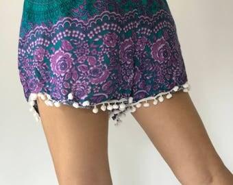 PP0119 Pom pom flora Print Beach Summer Hippies Boho Fashion Chic Clothing, Summer boxers Short Pants Unique