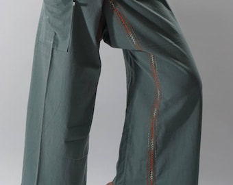 FZ0070 Hand stitch Unisex Thai fisherman pants, stitch Inseam design for Thai Fisherman Pants Wide Leg pants, Wrap pants