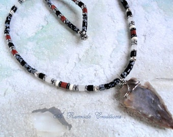 Men's Arrowhead Necklace Beaded Gemstone Necklace Handmade Mens Native American Style Necklace Men's Gift for Him