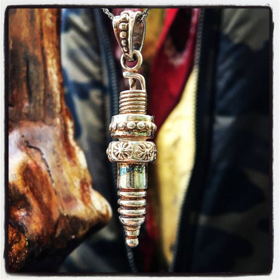 Etherial Jewelry - Rock Chic Talisman Luxury Custom Handmade Artisan Pure Sterling Silver .925 Handcrafted Badass Motor Spark Plug Pendant