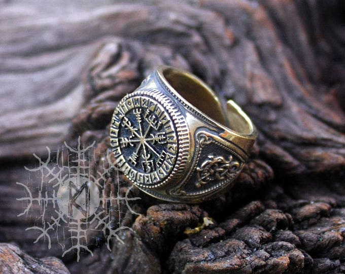 NEW ITEM! ~ Bronze Vegvisir Futhark Runes Vikings Compass Magic Stave Nordic Amulet Adjustable Size Ring
