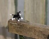 CUSTOM ORDER miniature crochet Black Cat white cheeks dollhouse decor cat micro amigurumi doll fancy fanny collectable toy Felix