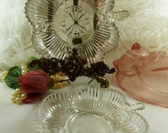 Vintage Federal Glass Bon Bon Dish, 2 styles, #2825, Star/Arch Line and Ribbed