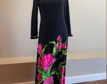 Vintage 60's Dress / Mr. Dino / Designer Dress / Floral Print / Maxi Dress