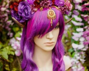 Purple Rams Horn Dancing Flower Crown
