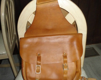 Leather Saddle Side Bag Motor Cycle Horse Travel Bag Light Brown Vintage