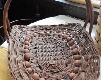 Vintage Wicker Bead Wood Gathering Basket Made In The Philippines Table Centerpiece