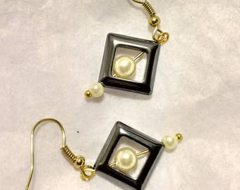 Hematite & Pearl Earrings