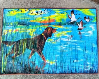 Fifties French tea towel with dog and ducks