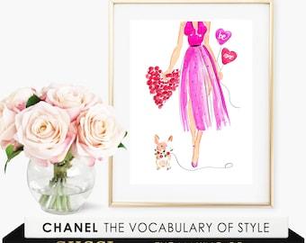 Fashion Illustration - Fashion Illustration Print- Valentine Print  - Valentine Card - Fashion Wall Decor -  Fashion Illustration Stationery