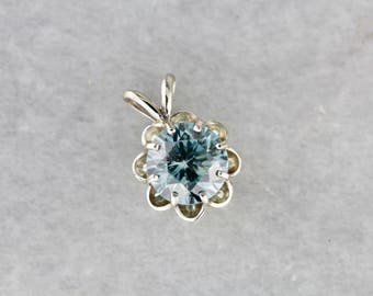The Grace Pendant in Blue Zircon and White Gold from The Elizabeth Henry Collection 0L92LK-R