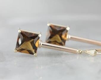 Autumn Smoky Quartz Drop Earrings, Quartz Gold Bar Drop Earrings 78FMY0-R