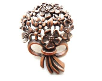 JJ Dogwood Pin/  Jonette Jewelry  Brooch/ Copper Bouquet Pin/Copper Flowers and Bow Pin/Floral Bunch Brooch