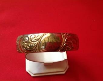 Antique Bangle Bracelet-Engraved-1940's