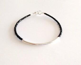 Black bracelet, bar black bracelet, dainty bracelet, noodle seed bead bracelet, seed bead bracelet, silver bracelet, minimalist bracelet