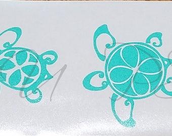 Vinyl Window Decal, 4 Sea Turtles. 6yr outdoor permanent Oracal 651