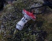 Fly Agaric Mushroom man clay necklace