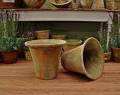 Pair (2) Large Aged English Planters ~ 1:12th Scale Dollhouse Miniature Garden Pots