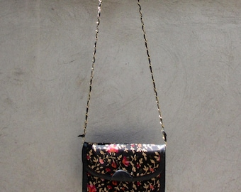 Vintage Chain Handle Envelope Clutch Made In India Floral Print Silk and leather Handbag Crossbody Purse