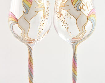 Long Tail Unicorn WIne Glass (curvy stem)