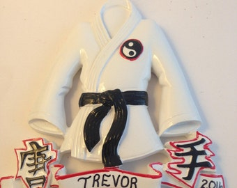 Karate Personalized Christmas Ornaments for Kids / Sports Ornament Gift for Kids / Black Belt