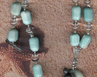 Floating On By - Amazonite Gemstone Turtle Pendant, Amazonite, Rock Quartz, FW Pearls, SS Necklace Beach Ocean Sea Jewelry