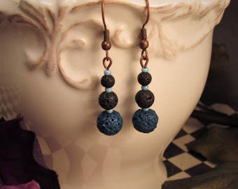 Black And Blue Lava Bead Earrings - Wicked Willow Grove Jewelry Collection
