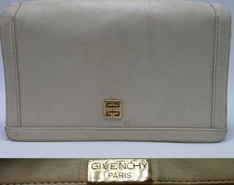 GIVENCHY White Leather Vintage Handbag / Clutch / Purse