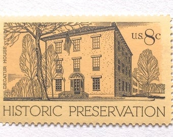 10 Unused Historic House Postage Stamps // Decatur House in Washington DC // Vintage Stamps for Mailing