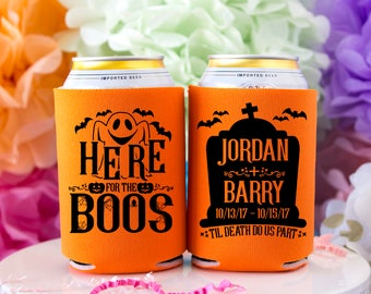 Halloween Can Cooler, Here for the Boos, Halloween Party, Halloween Favor, Party Favor, Halloween Wedding, Wedding Favor, Custom Can Cooler