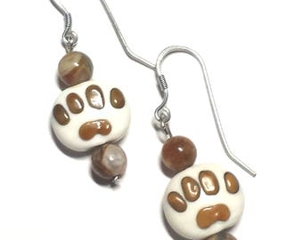 Ceramic Pawprint With Agate Bead Earrings